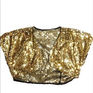 Gold cropped sequin glittery top